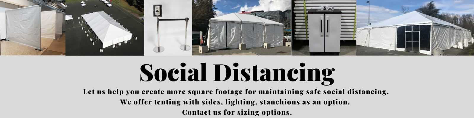 Tenting, stanchion, and lighting rentals in the Greater Puget Sound area